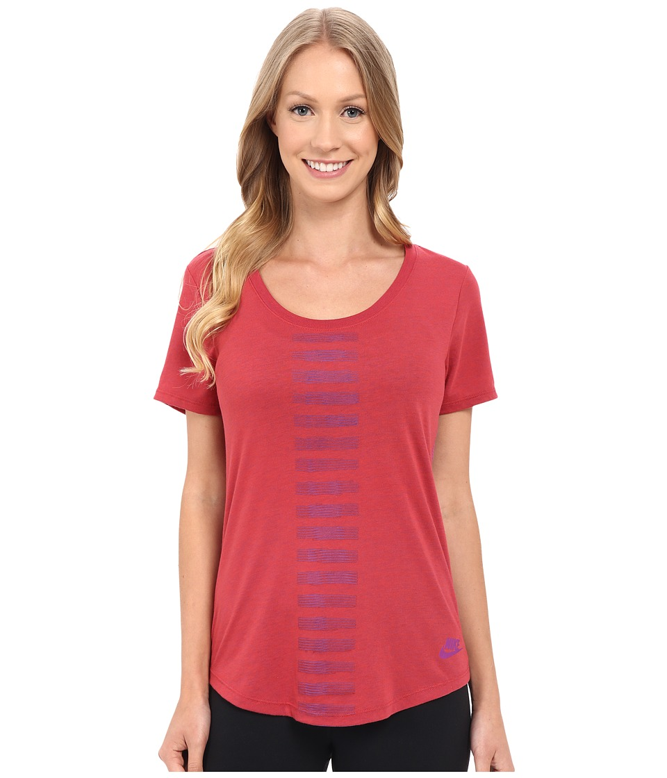 Nike - Scoop Frequency Burnout Tee (Light Crimson) Women's T Shirt