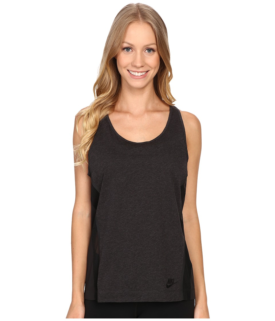 Nike - Bonded Tank Top (Black Heather/Black/Black) Women's Sleeveless