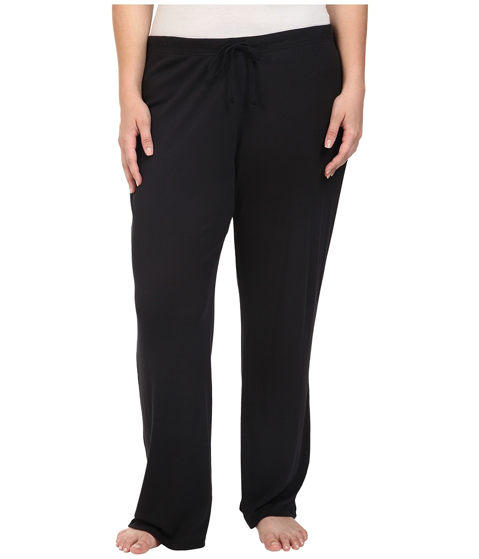 Yummie by Heather Thomson - Plus Size 2x1 Pima Rib Wide Leg Pants (Black) Women's Casual Pants