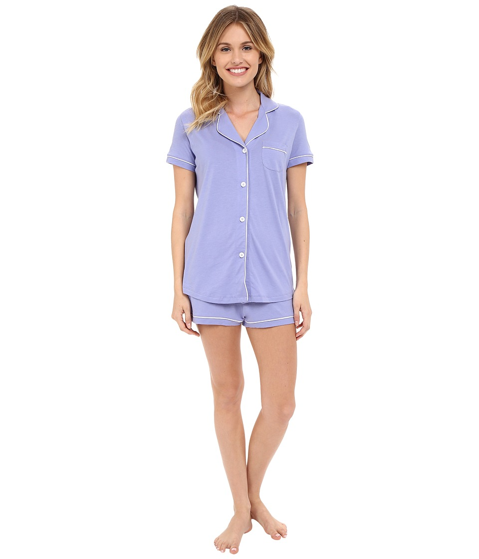 Cosabella - Bella S/S Top Boxer Pajama Set (Purple Sky/White) Women's Pajama Sets