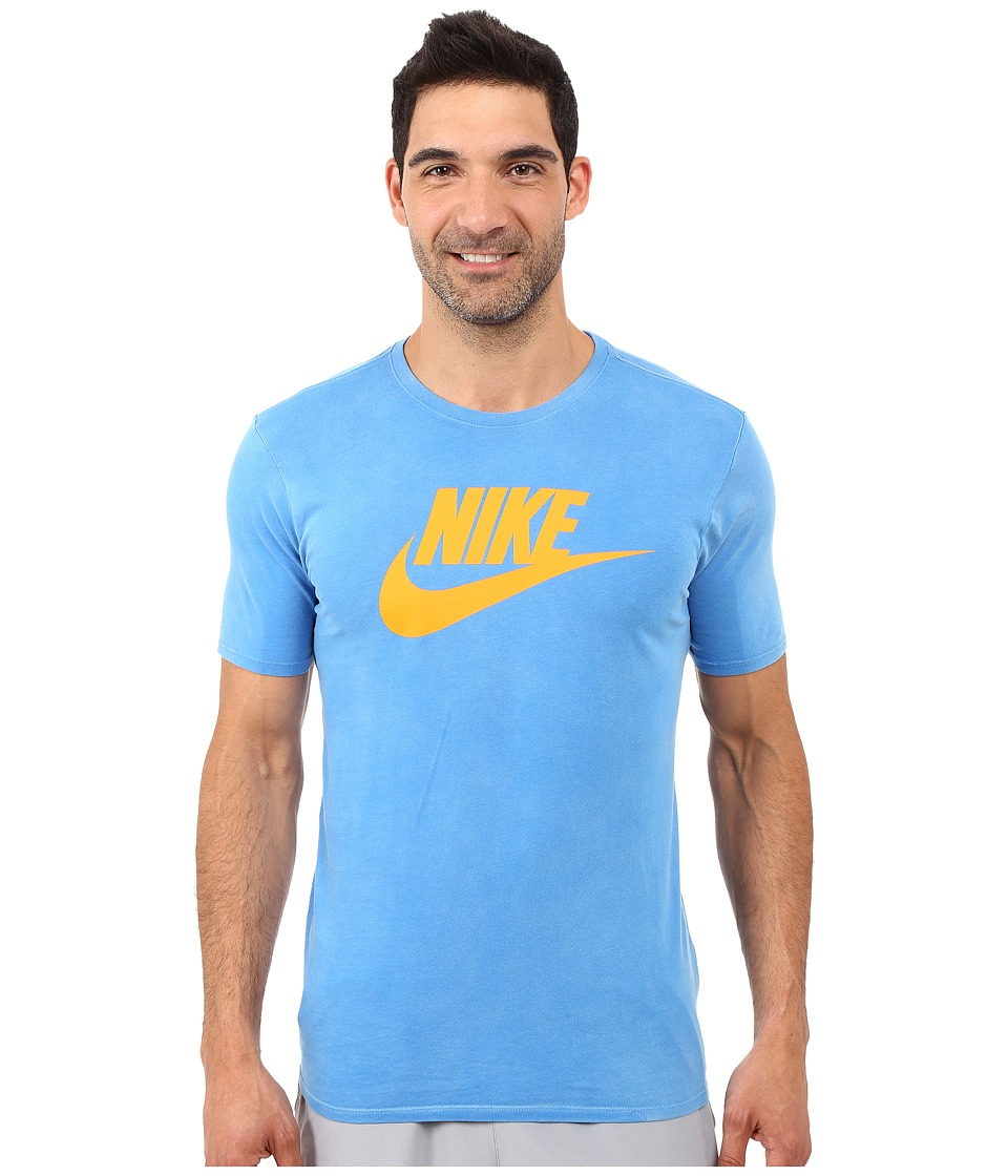 Nike - Solstice Futura Tee (Light Photo Blue/Light Photo Blue/Vivid Orange) Men's T Shirt