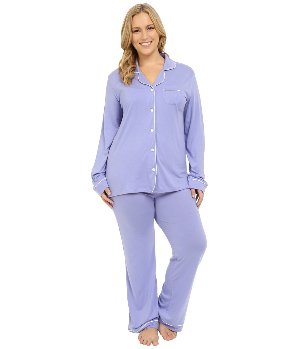 Cosabella - Plus Size Bella PJ Long Sleeve Top and Pants PJ Set (Purple Sky/White) Women's Pajama Sets