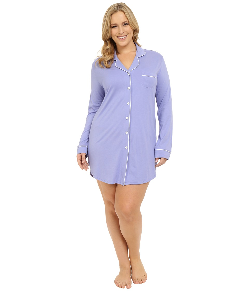Cosabella - Plus Size Bella Plus Nightshirt (Purple Sky/White) Women's Pajama