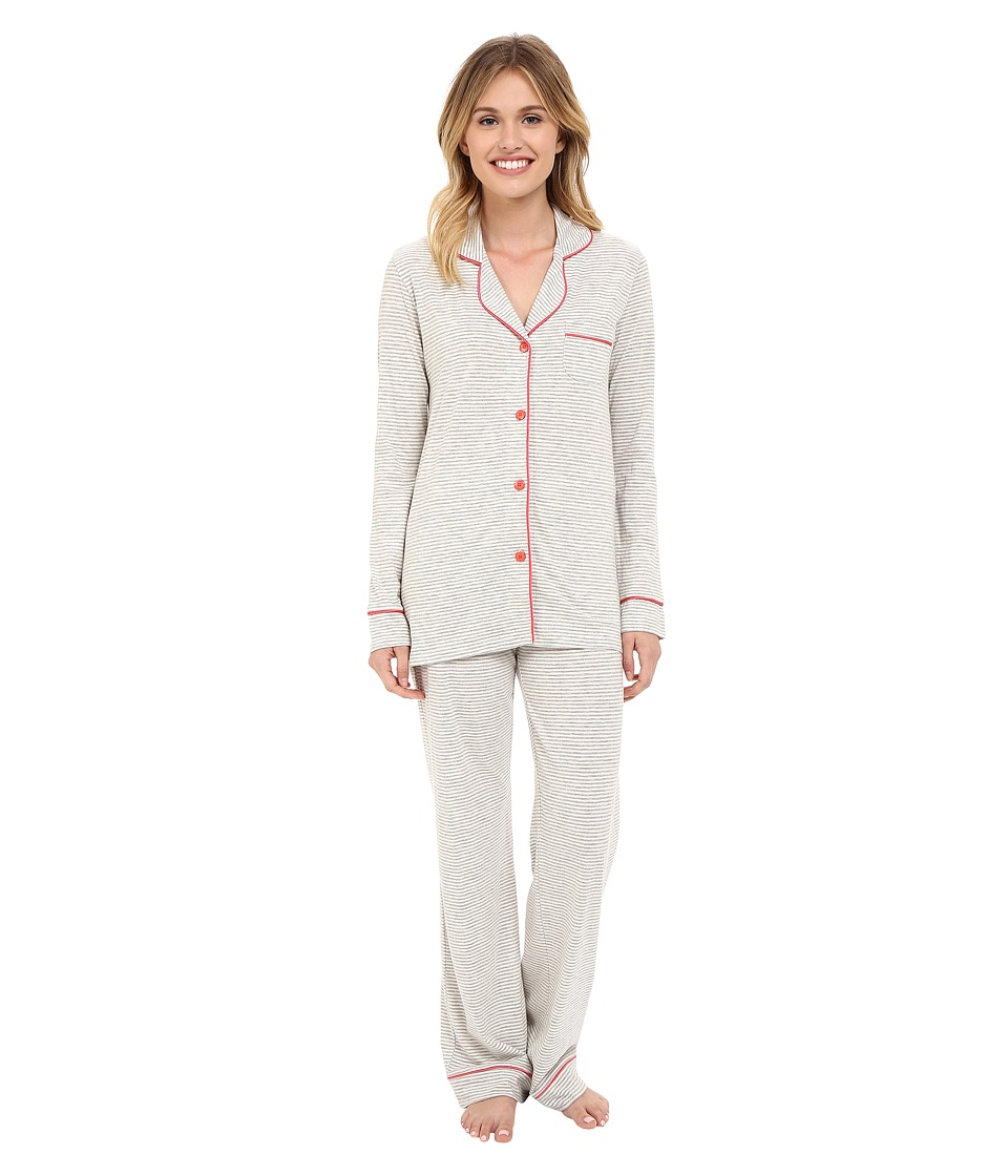 Cosabella - Bella Texture Long Sleeve Top and Pants AMORS9641 (Heather Grey/Geranium Pink) Women's Pajama Sets