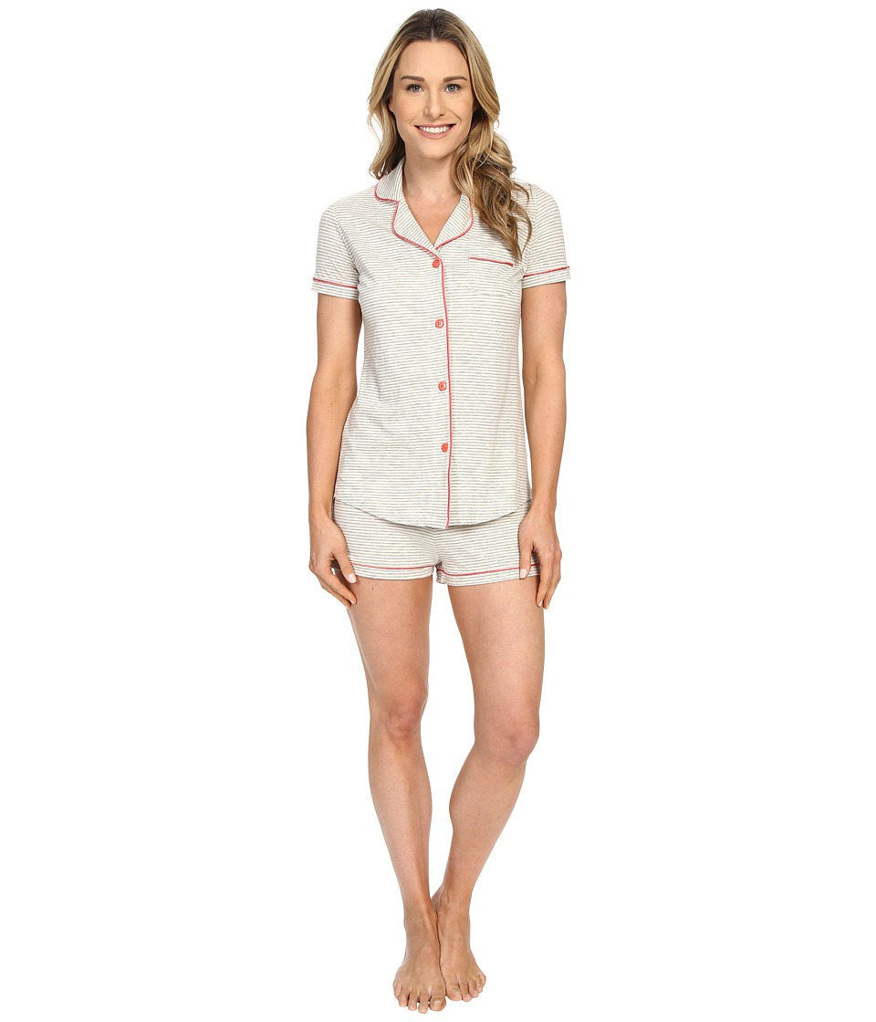Cosabella - Bella Texture Short Sleeve Top and Boxer Pajama AMORS9621 (Heather Grey/Geranium Pink) Women's Pajama Sets