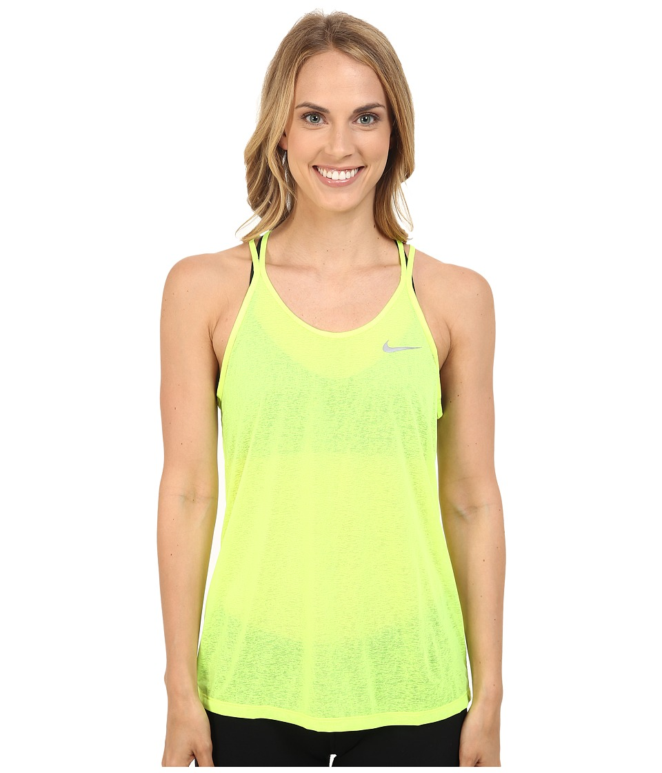 Nike - Dri-FIT Cool Breeze Strappy Running Tank Top (Volt) Women's Sleeveless