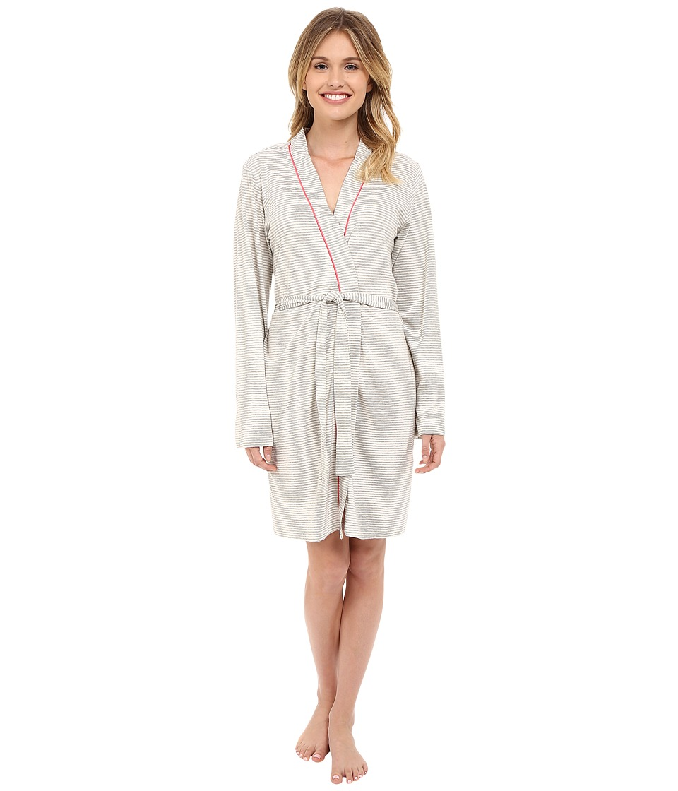Cosabella - Bella Texture Robe AMORS8091 (Heather Grey/Geranium Pink) Women's Robe plus size,  plus size fashion plus size appare