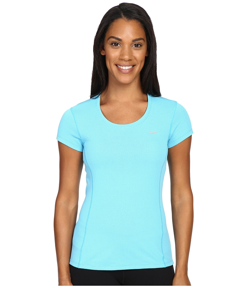 Nike - Dri-FIT Contour Short Sleeve (Omega Blue/Reflective Silver) Women's Short Sleeve Pullover