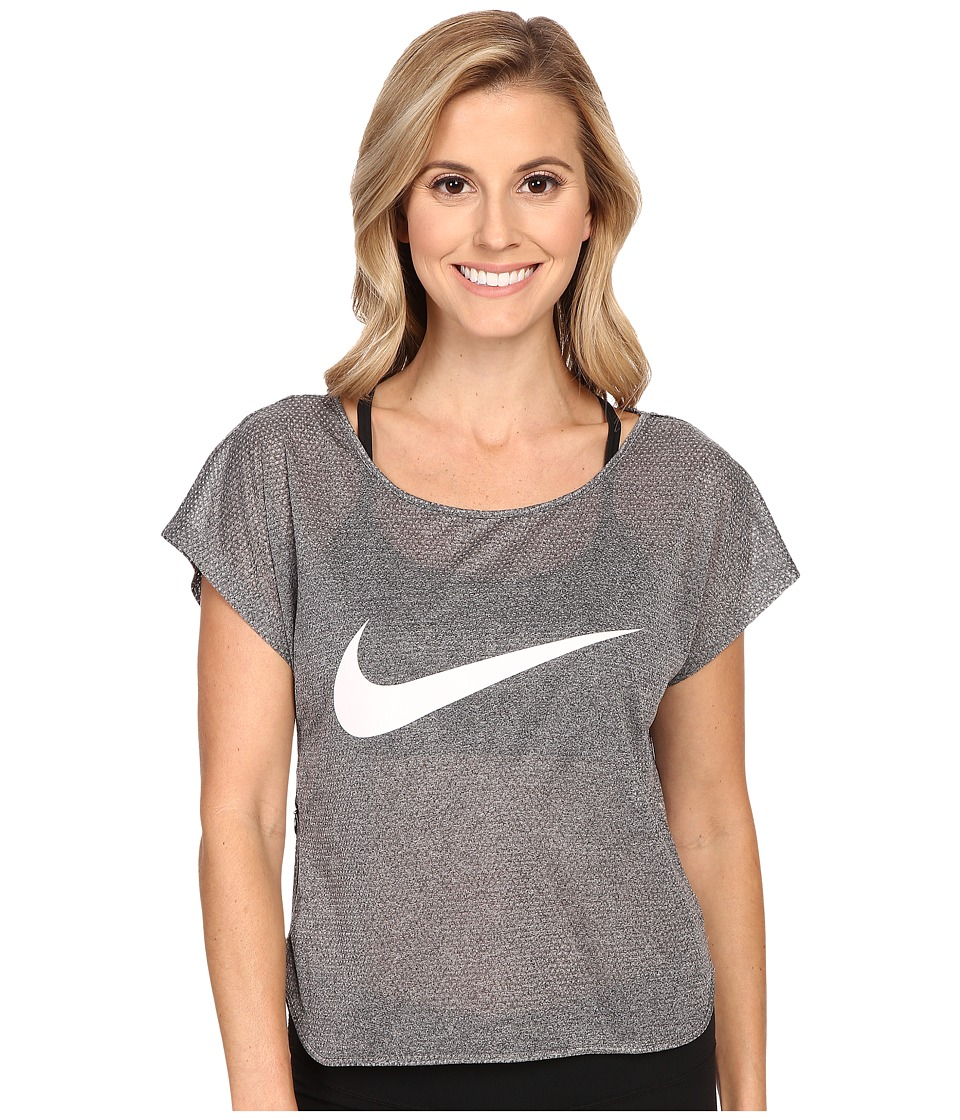 Nike - City Cool Swoosh Running Top (Black/White/Reflective Silver) Women's Clothing