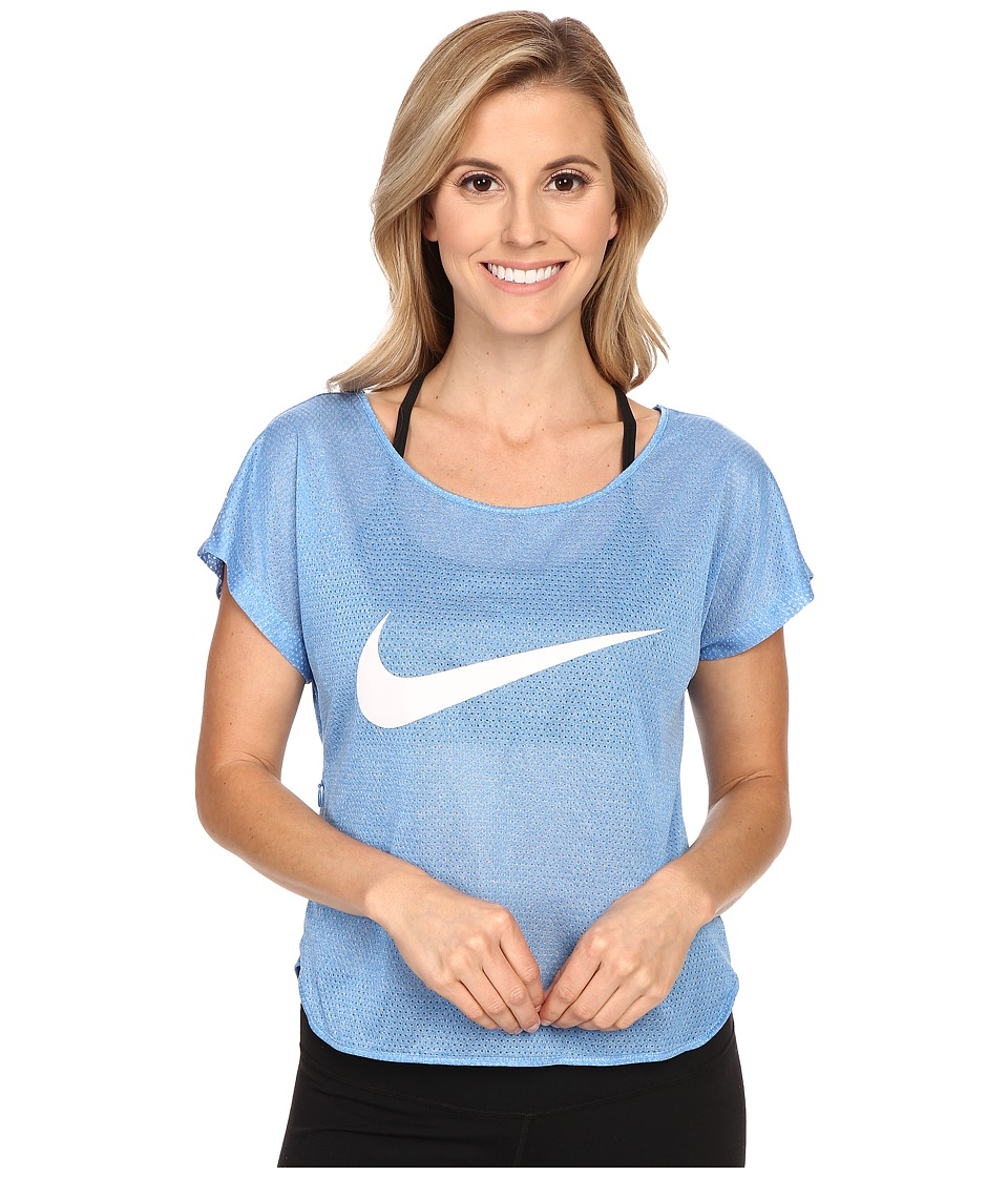 Nike - City Cool Swoosh Running Top (Light Photo Blue/White/Reflective Silver) Women's Clothing