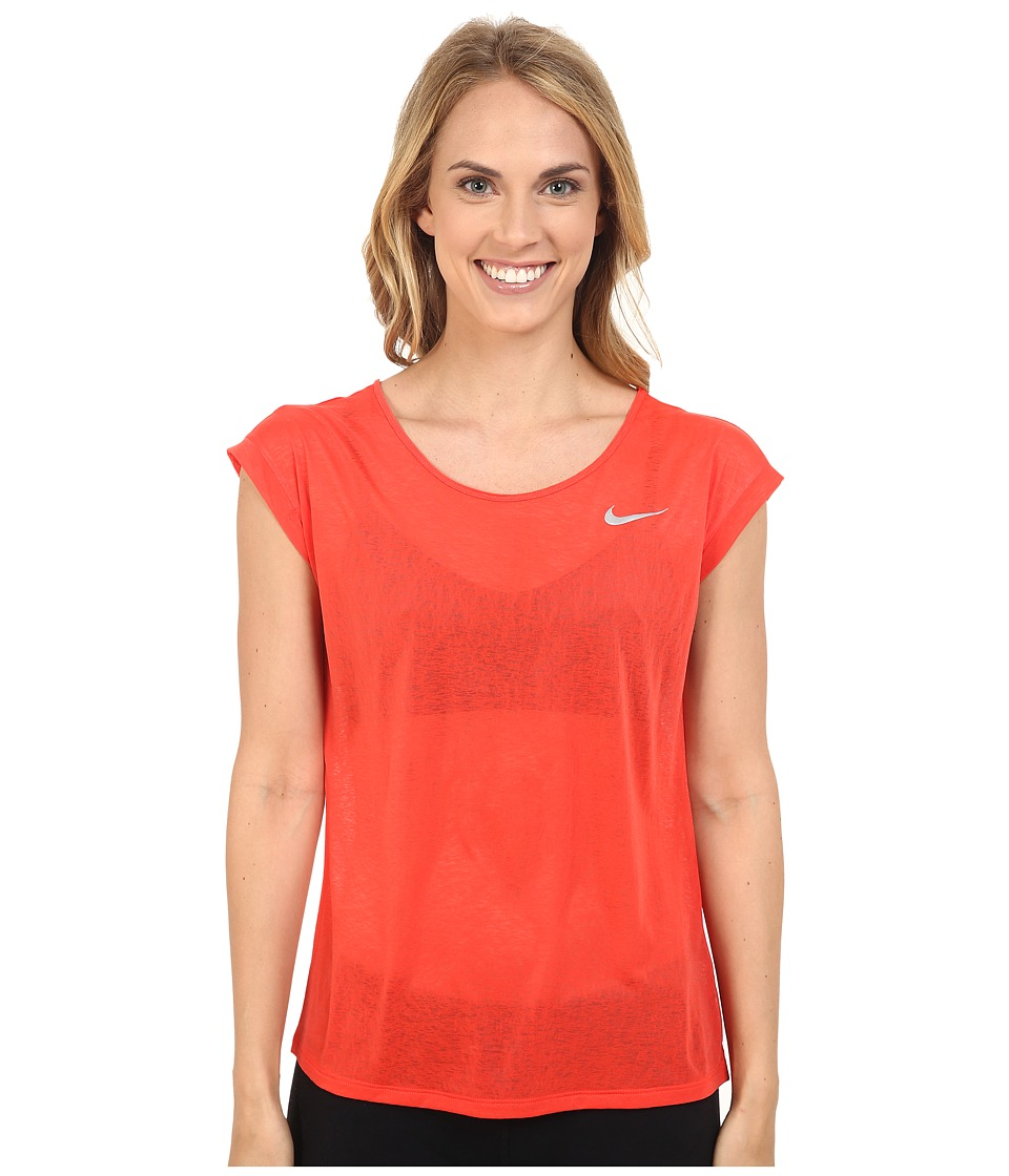 Nike - Dri-FIT Cool Breeze Running Top (Light Crimson/Reflective Silver) Women's Short Sleeve Pullover