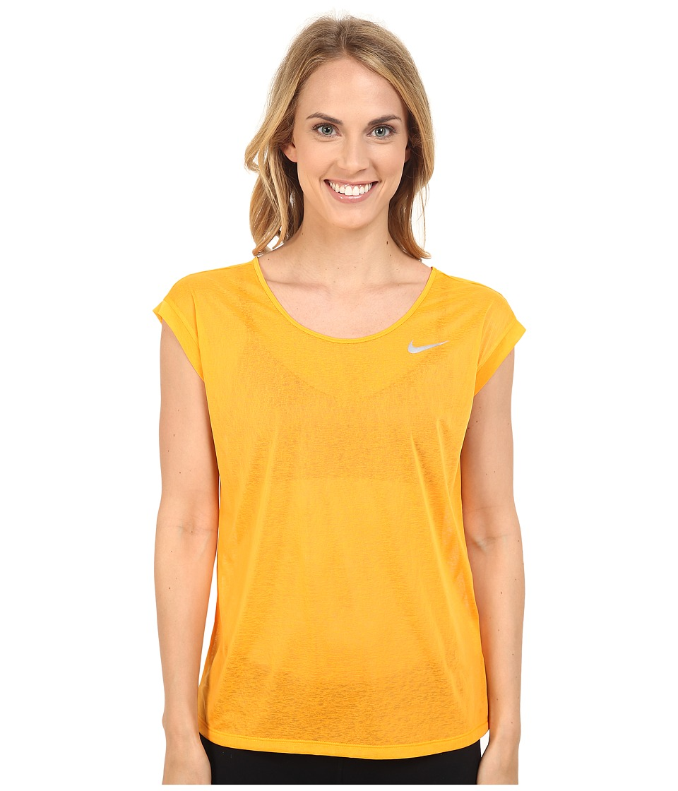 Nike - Dri-FIT Cool Breeze Running Top (Vivid Orange/Reflective Silver) Women's Short Sleeve Pullover