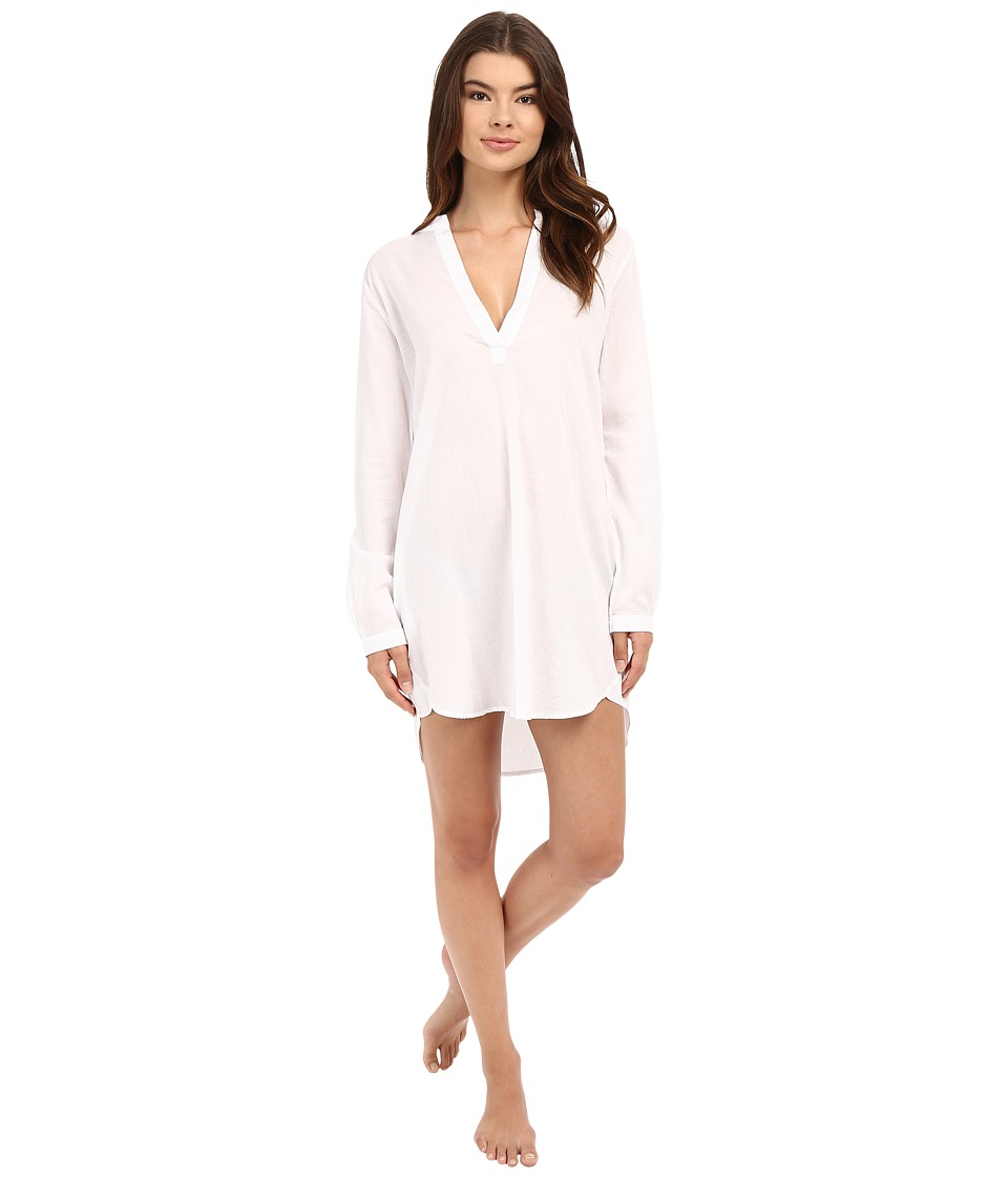 Yummie by Heather Thomson - Cotton Viole Mandarin Collar Nightshirt (White) Women's Pajama