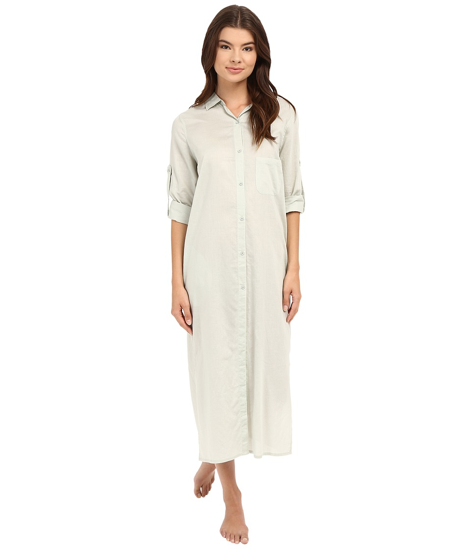 Yummie by Heather Thomson - Cotton Voile Mandarin Button Down Dress w/ Side Vents (Mineral Gray) Women's Dress