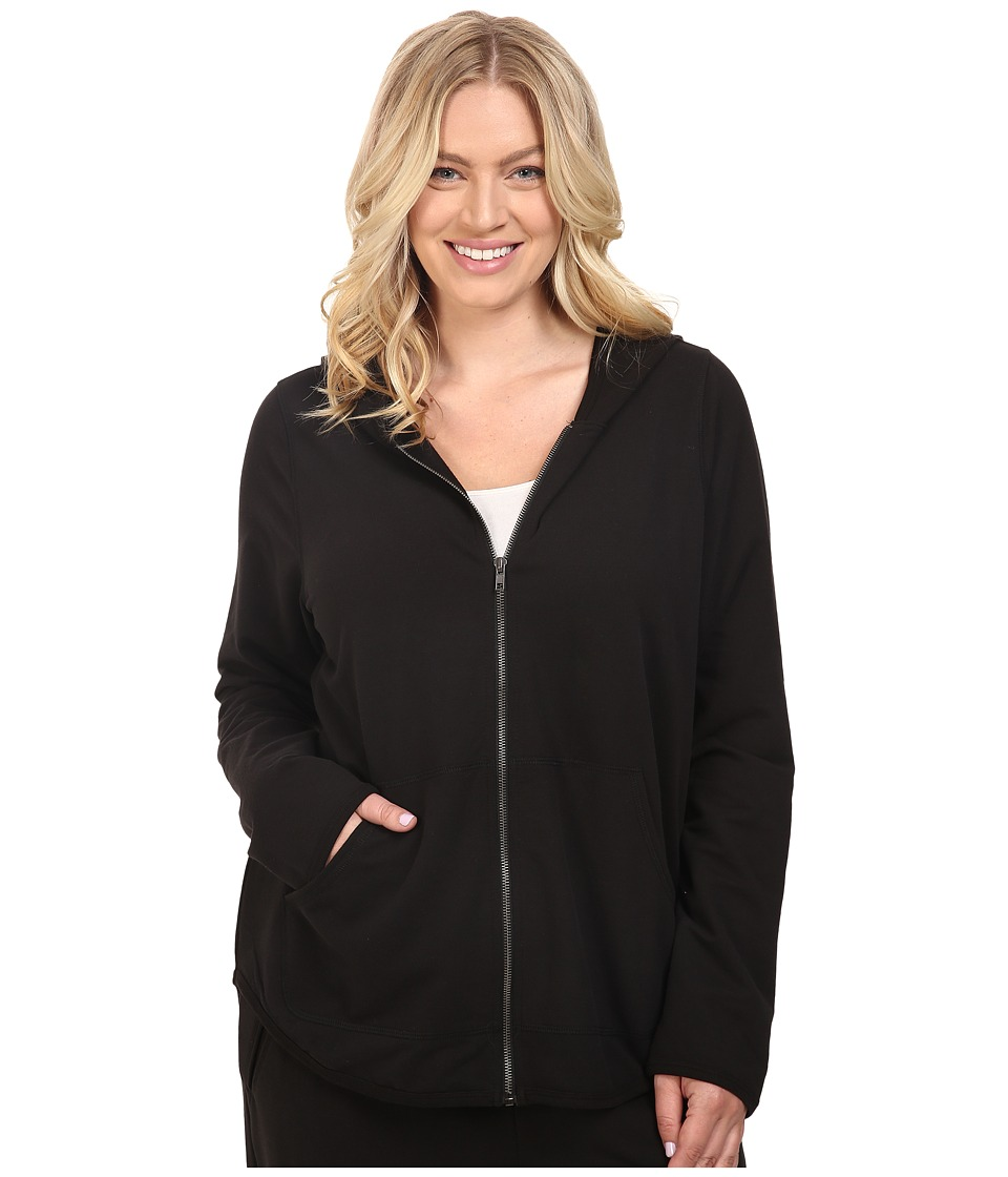 Yummie by Heather Thomson - Plus Size Baby French Terry Zip-Up Hoodie (Black) Women's Sweatshirt