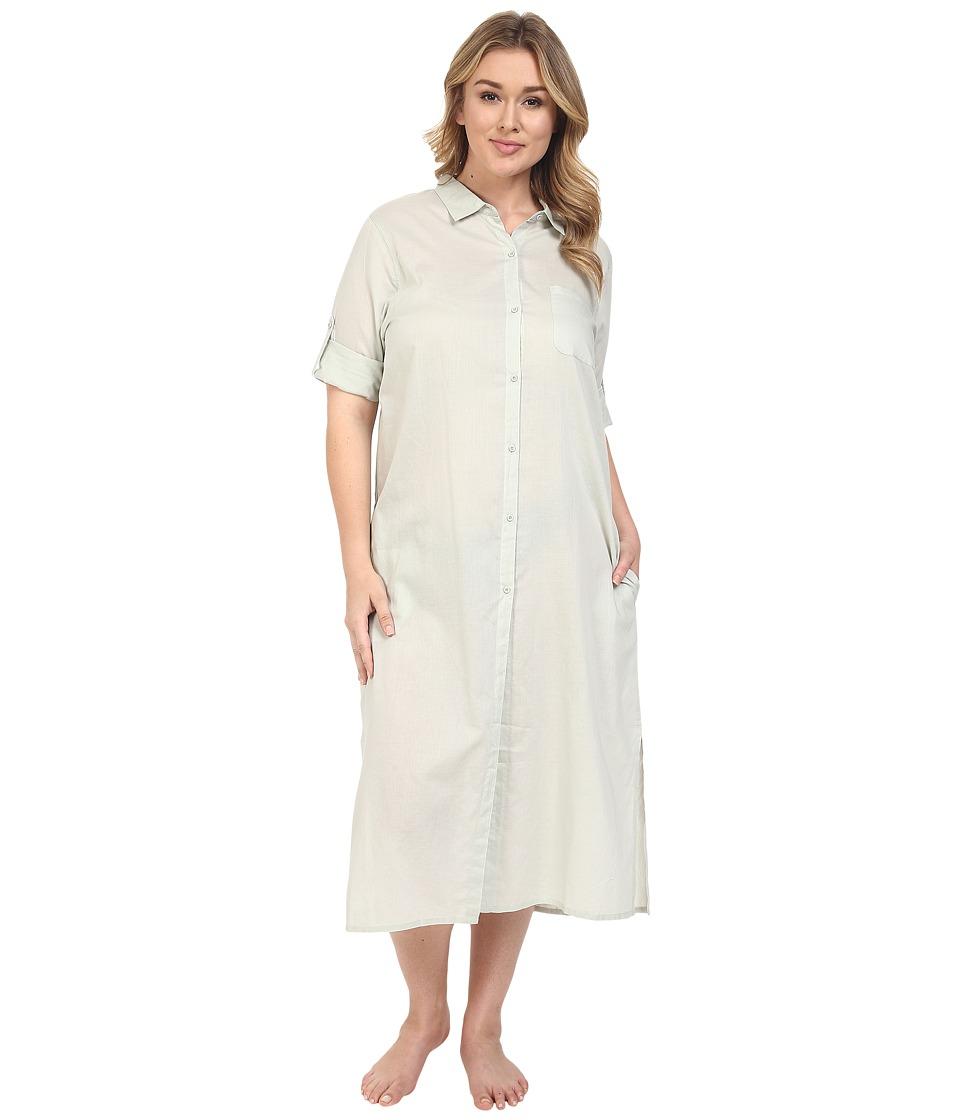 Yummie - Plus Size Cotton Voile Mandarin Button Down Dress w/ Side Vents (Mineral Gray) Women's Dress