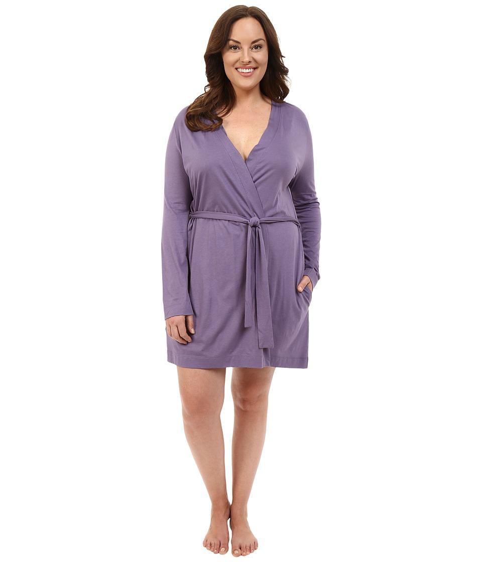Yummie by Heather Thomson - Plus Size Pima Jersey Short Robe (Mulled Grape) Women's Robe