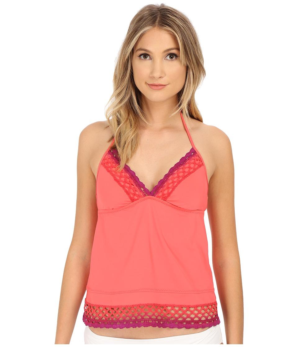 BECCA by Rebecca Virtue - Sunrise Midnight Tankini Top (Papaya) Women's Swimwear