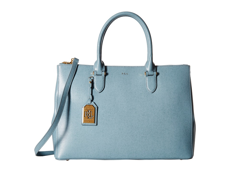 LAUREN Ralph Lauren - Newbury Double Zip Satchel (Cameo Blue) Satchel Handbags