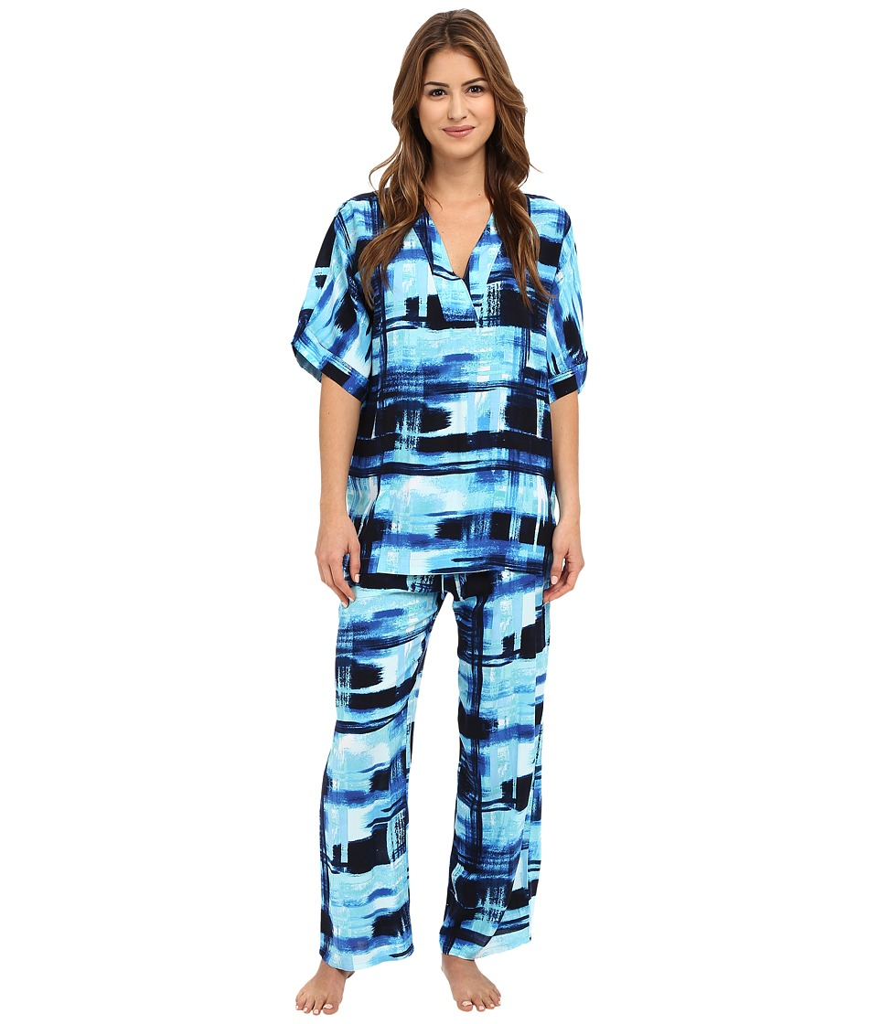 N by Natori - Glaze Dynasty 26 Short Sleeve PJ Set (Blue Note) Women's Pajama Sets