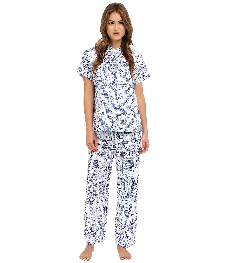 N by Natori - Mazed 26 Mandarin Short Sleeve PJ Set (Azure Blue) Women's Pajama Sets