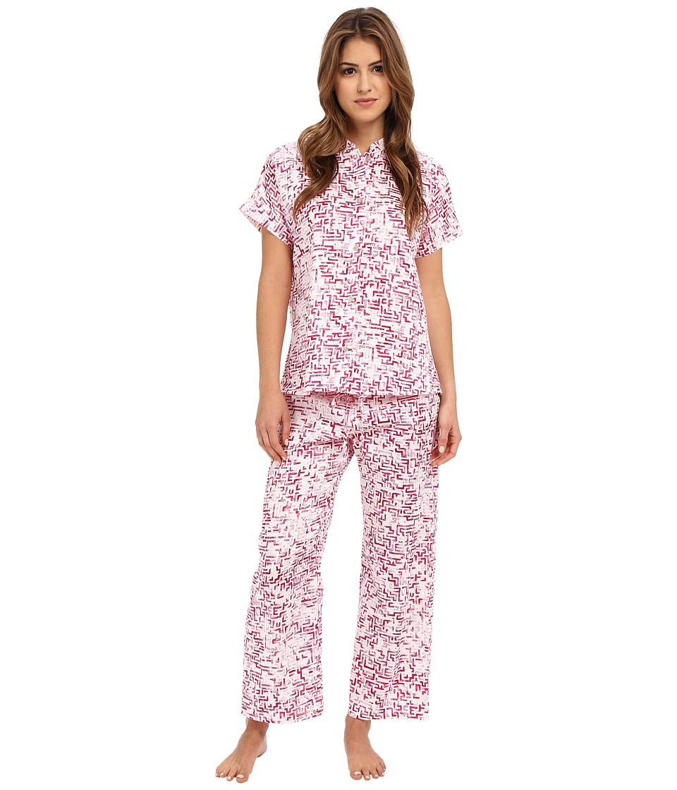 N by Natori - Mazed 26 Mandarin Short Sleeve PJ Set (Hibiscus) Women's Pajama Sets
