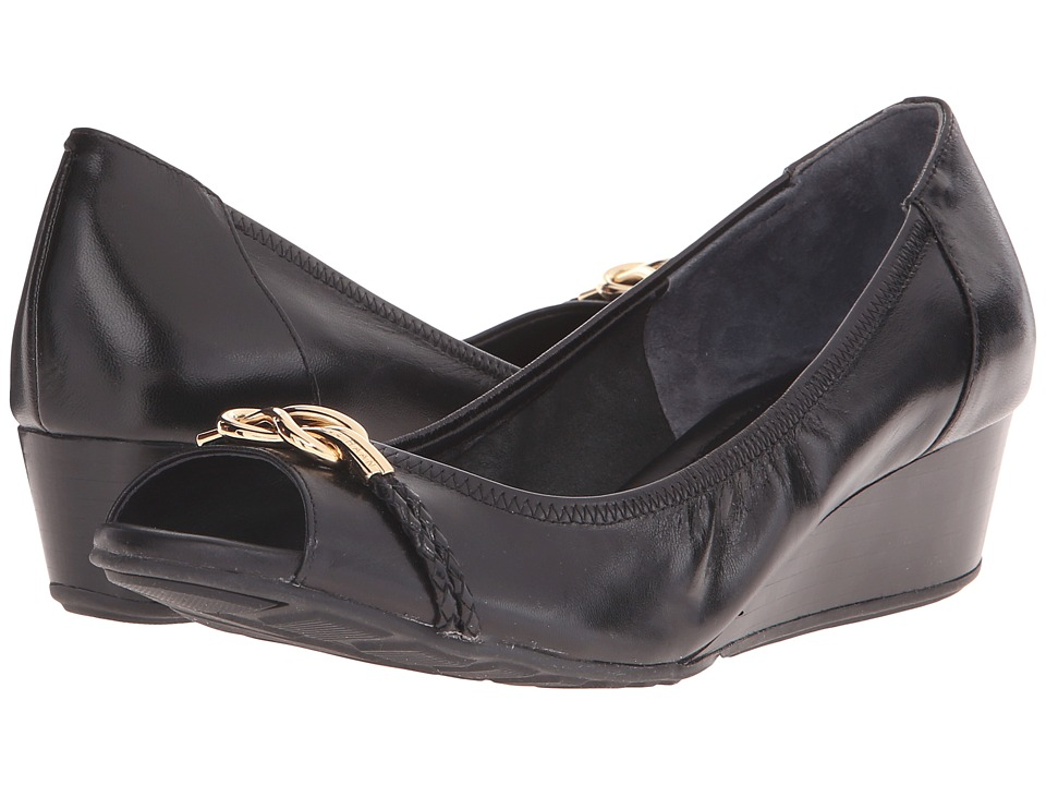 Cole Haan Tali Open Toe Knot Wedge 40 (Black) Women
