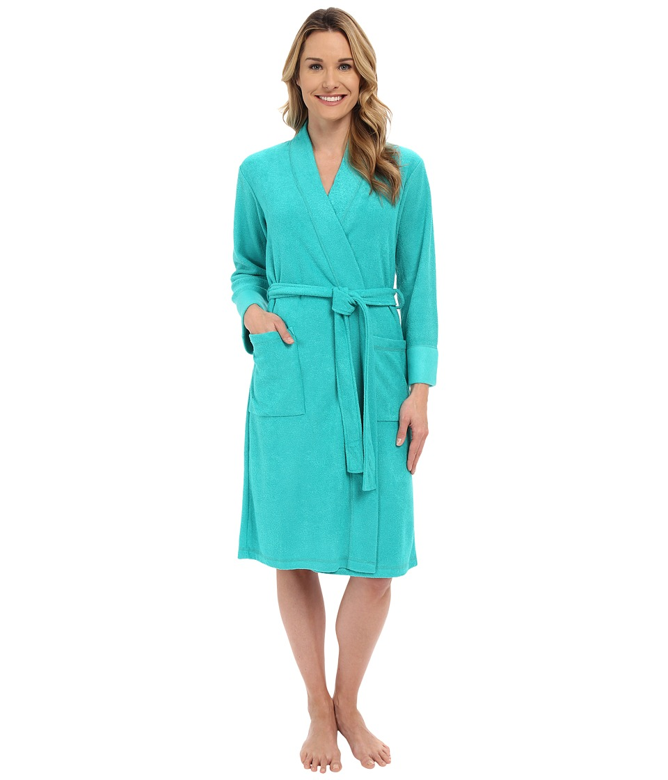 N by Natori - N Natori Brushed Terry Nirvana Robe (Aquamarine) Women's Robe