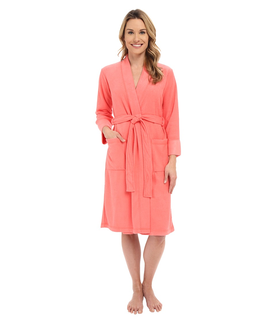 N by Natori - N Natori Brushed Terry Nirvana Robe (Coral Island) Women's Robe plus size,  plus size fashion plus size appare