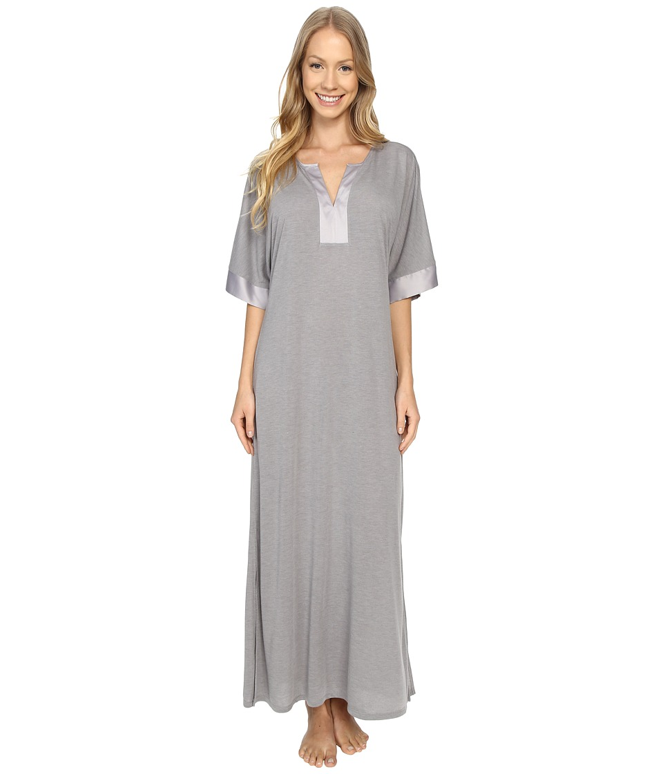 N by Natori - Congo Short Sleeve Gown (Light Grey) Women's Pajama