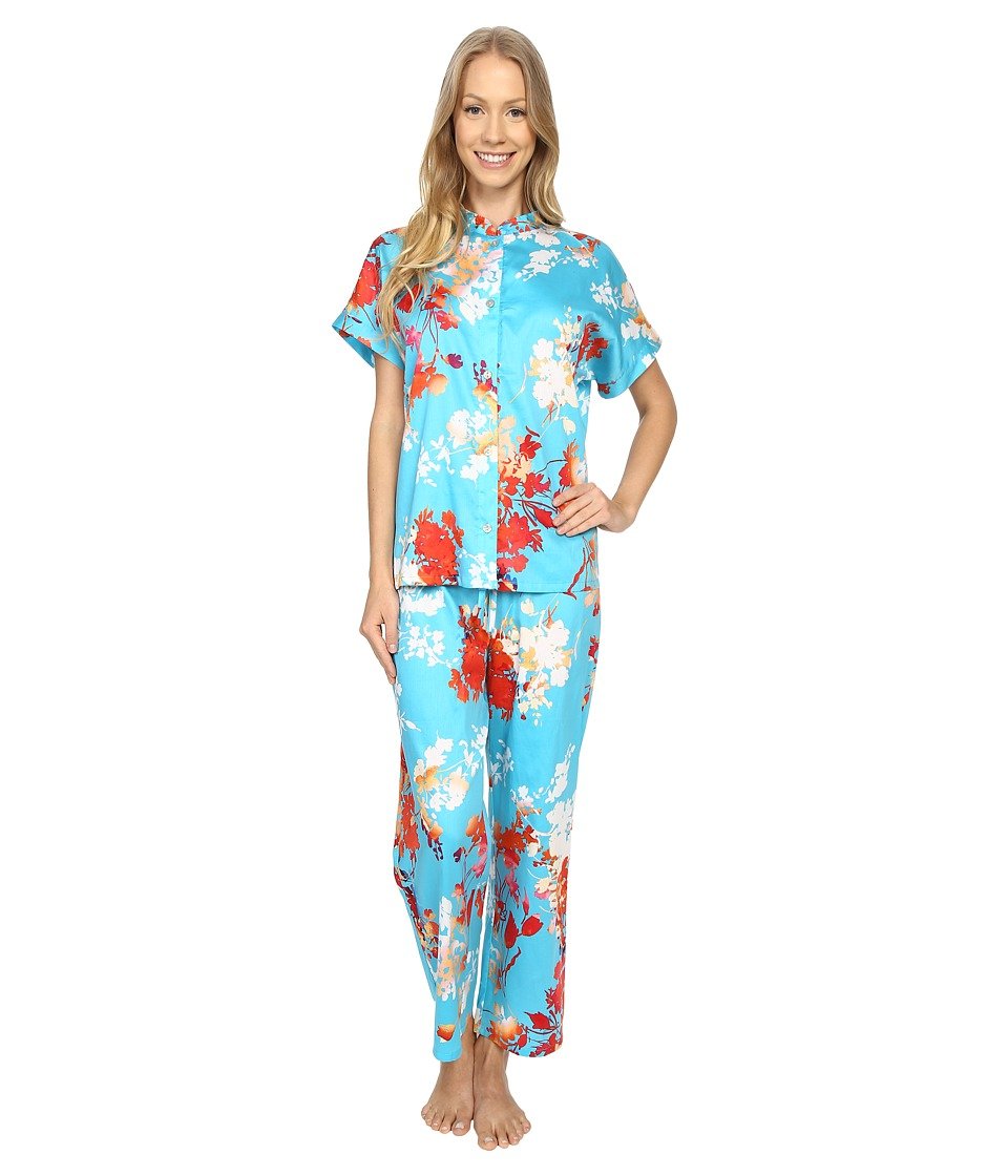 N by Natori - Imperial Garden PJ (Capri Blue) Women's Pajama Sets