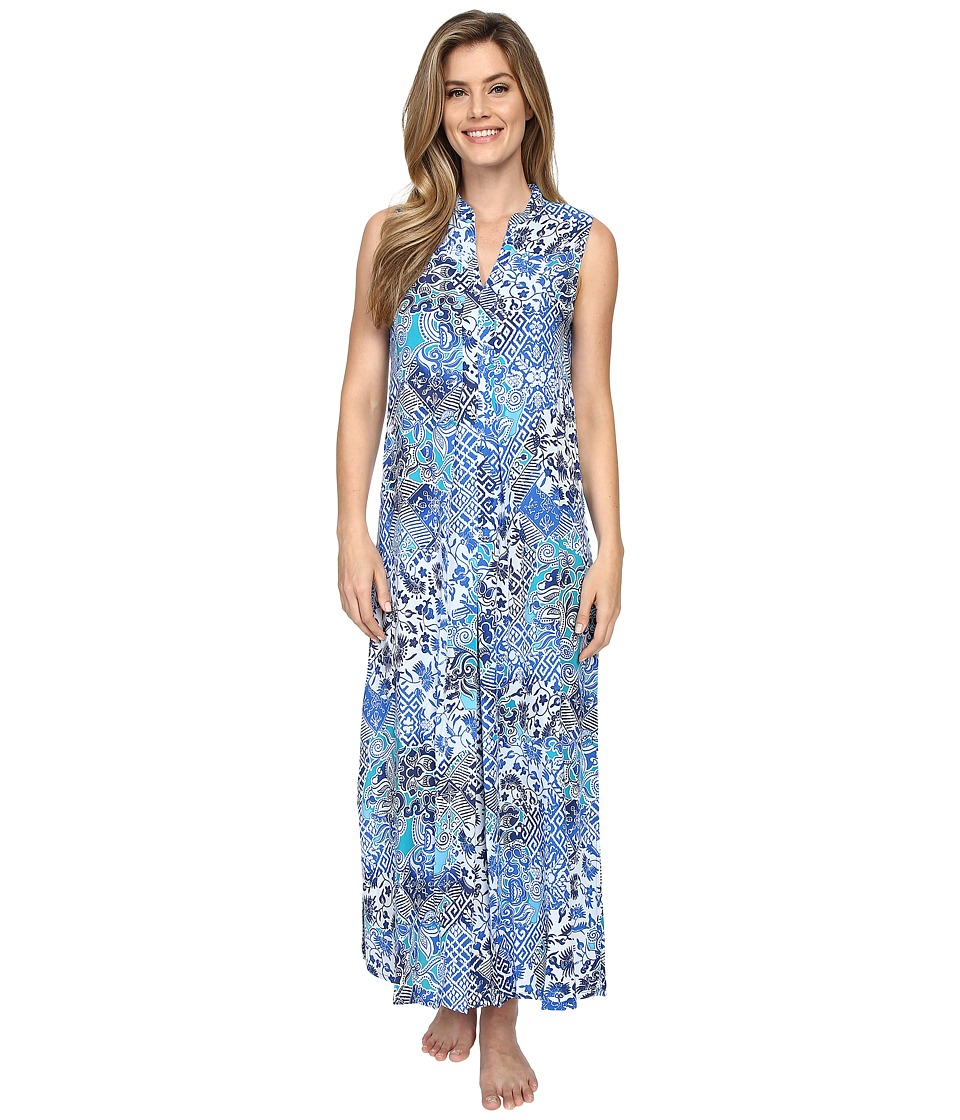 N by Natori - Mosaic Meadow Gown (Blue) Women's Pajama