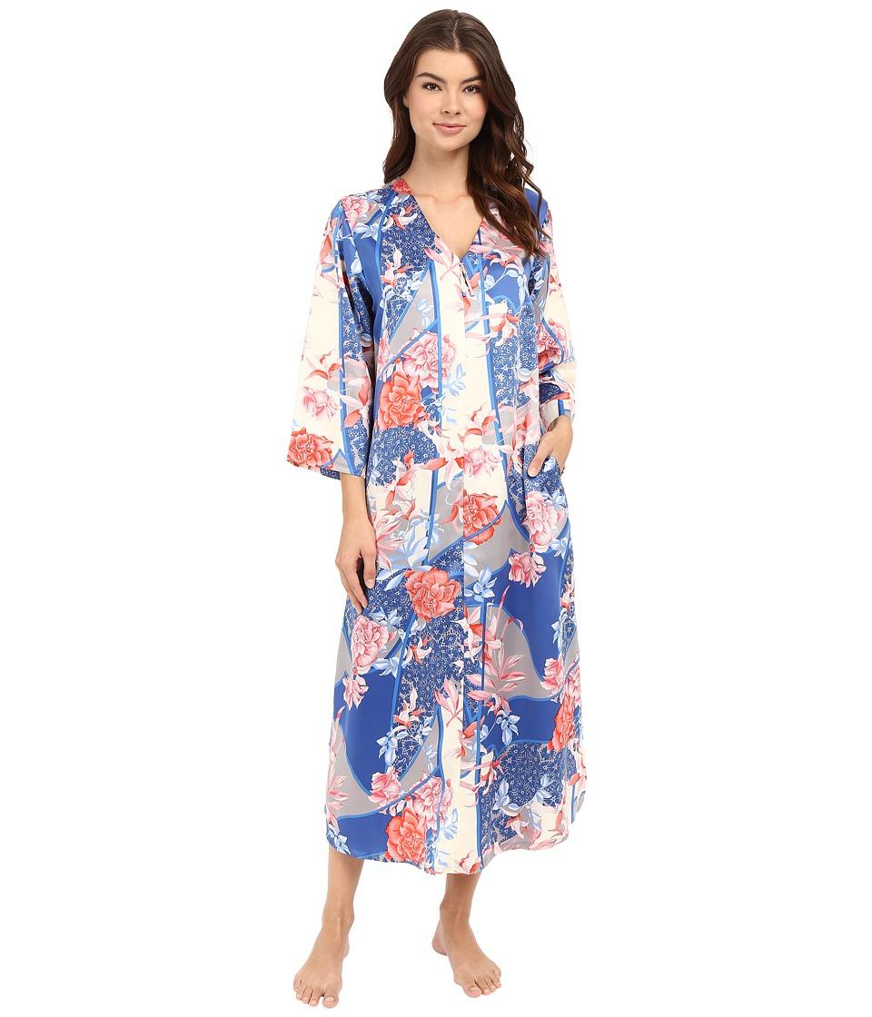 N by Natori - Dreamscape Zip Caftan (Blue Note) Women's Pajama