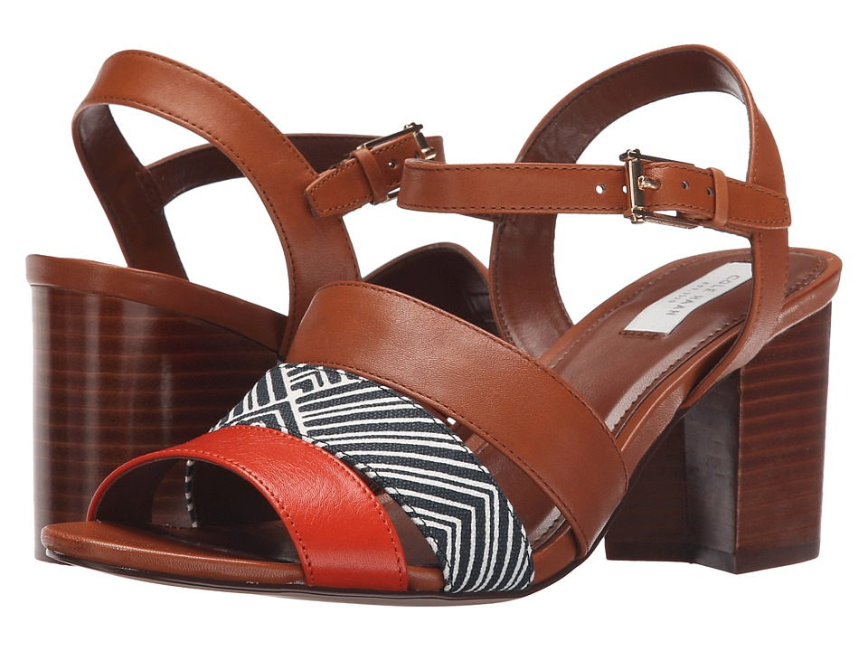 Cole Haan Anisa High Sandal (Acorn Leather/Optic White/Navy Ink Print/Citrus Red Leather) Women