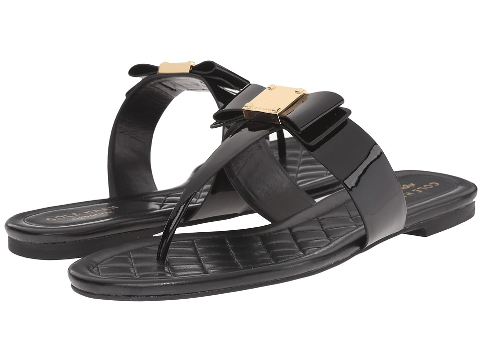Cole Haan - Tali Bow Sandal (Black Patent) Women's Sandals