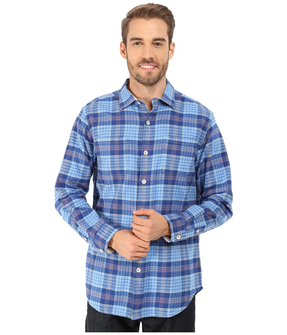 Tommy Bahama - Fraser Island Flannel Long Sleeve (Old Royal) Men's Long Sleeve Button Up