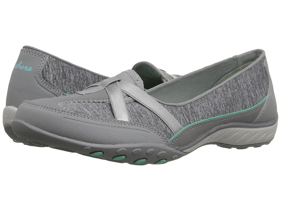SKECHERS - Active Breathe Easy - Heathered (Grey) Women's Slip on Shoes