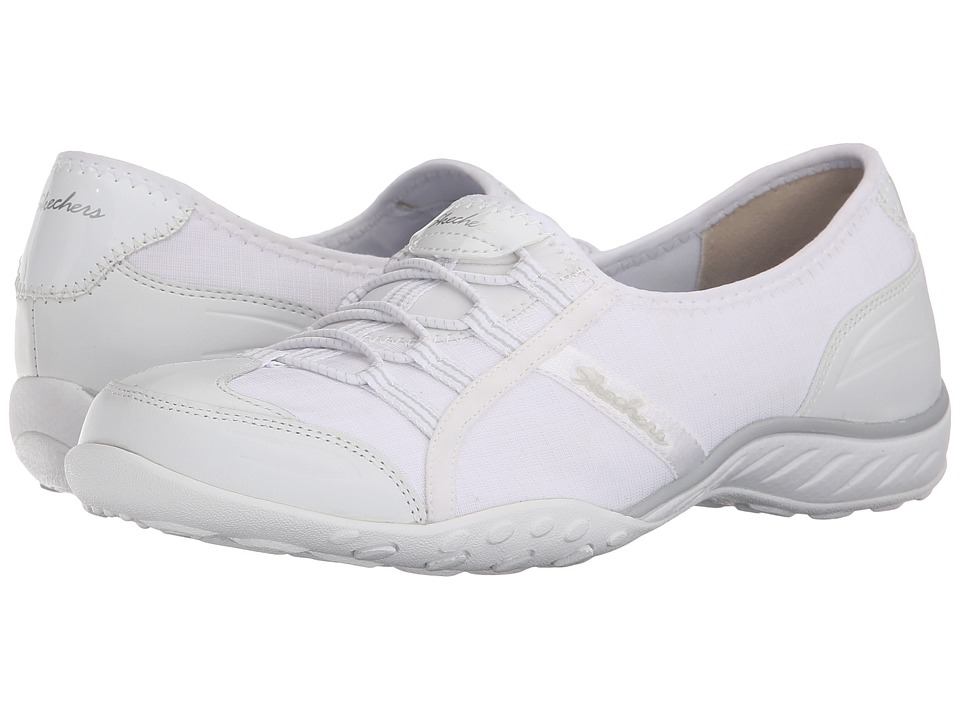 SKECHERS - Active Breathe Easy - Allure (White) Women's Slip on Shoes