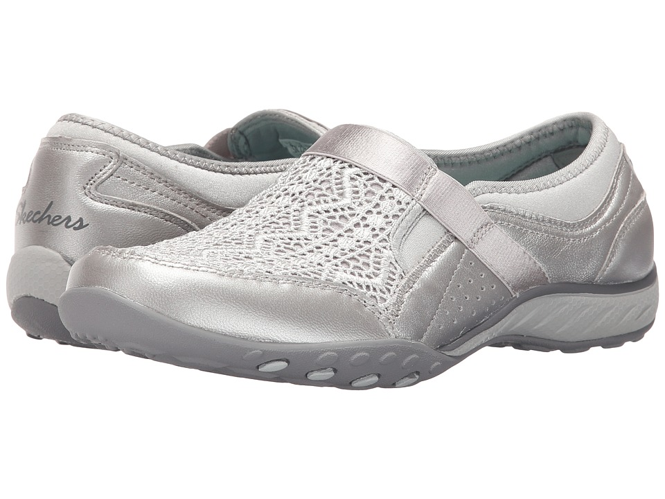 SKECHERS - Active Breathe Easy - Crochet (Silver) Women's Slip on Shoes