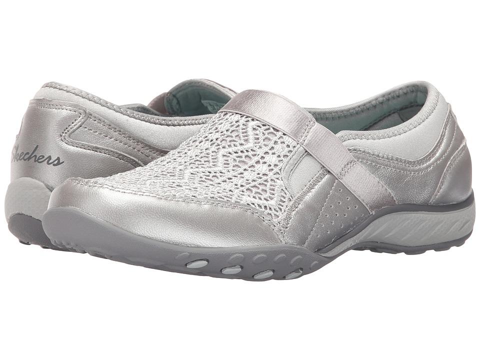 SKECHERS - Active Breathe Easy - Crochet (Silver) Women's Slip on Shoes