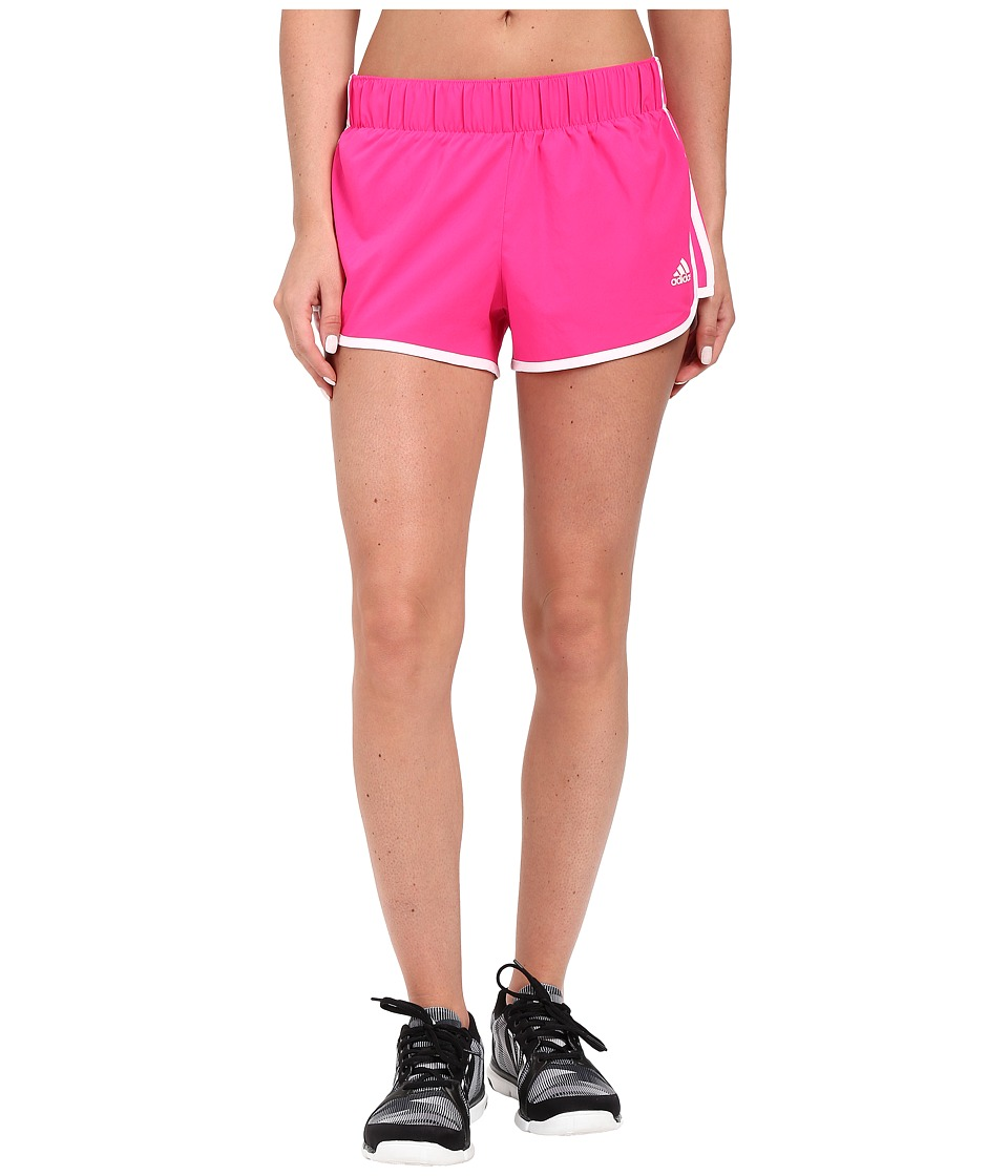 adidas - Woven 3-Stripes Shorts (Shock Pink/White) Women's Shorts