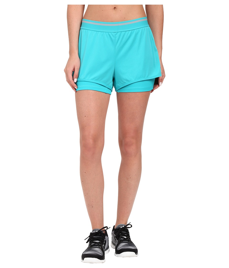 adidas - Climachill Shorts (Shock Green M lange/Mid Grey) Women's Shorts