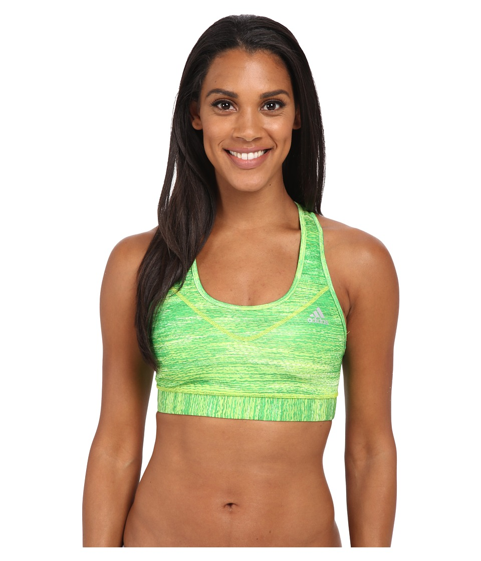 adidas - Techfit Bra - Macro Heather Print (Semi Solar Slime Print/Matte Silver) Women's Bra
