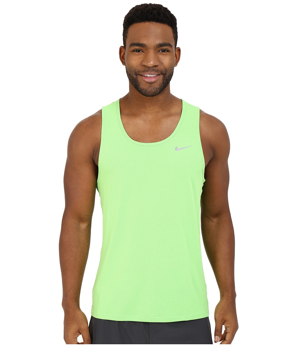 Nike - Dri-FIT Contour Running Singlet (Action Green/Reflective Silver) Men's Workout