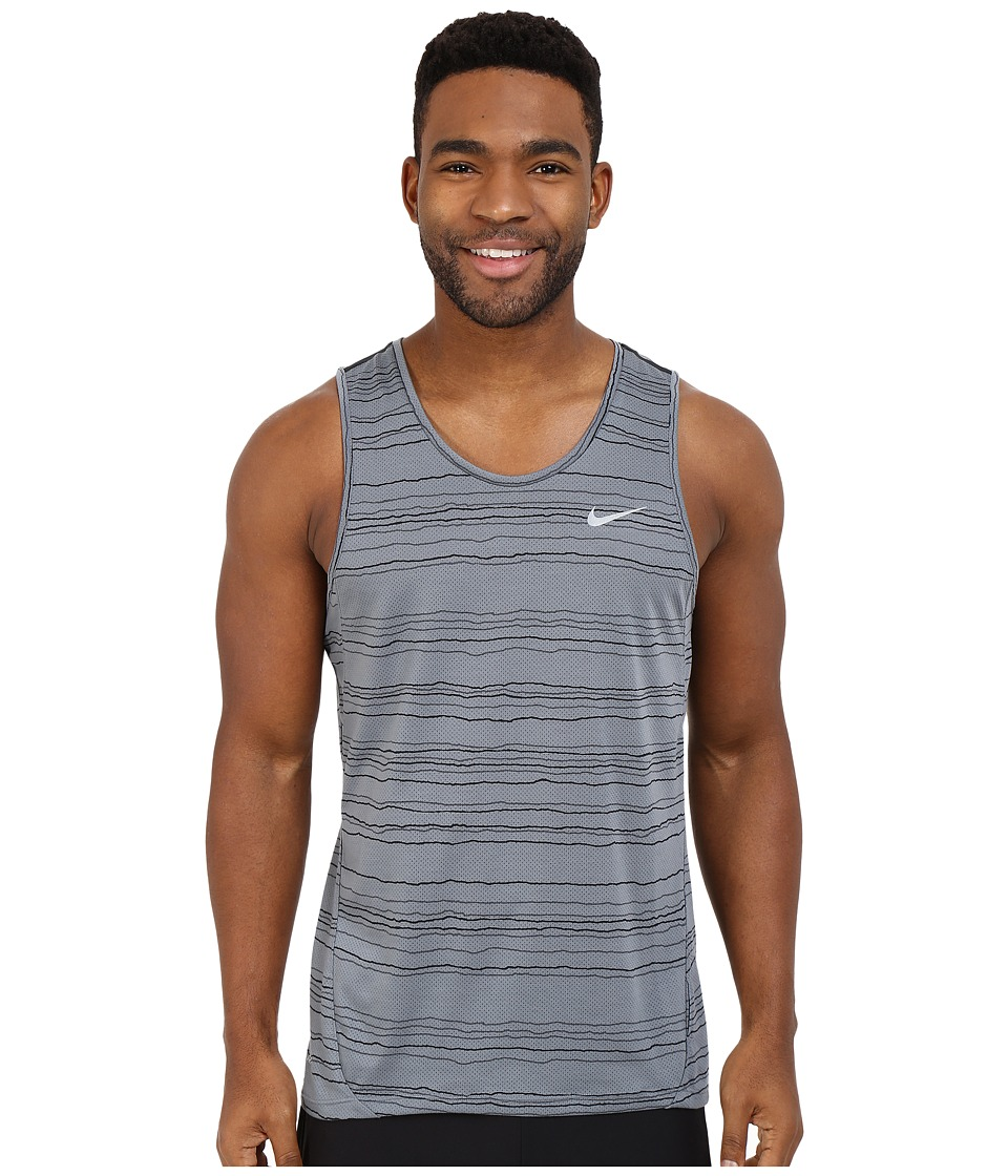 Nike - Dri-FIT Cool Tailwind Stripe Running Tank Top (Cool Grey/Reflective Silver) Men's Clothing