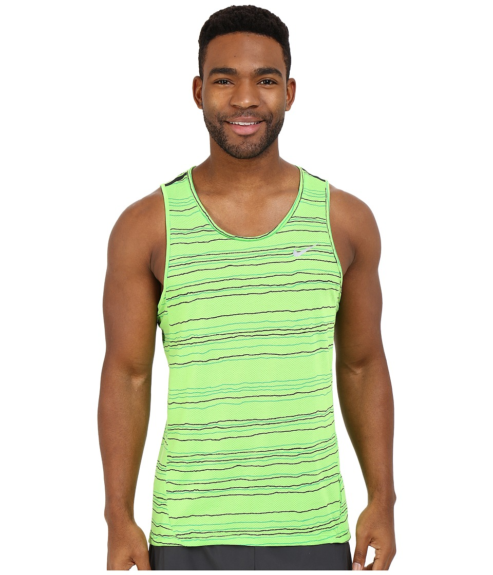 Nike - Dri-FITtm Cool Tailwind Stripe Running Tank Top (Action Green/Reflective Silver) Men's Clothing