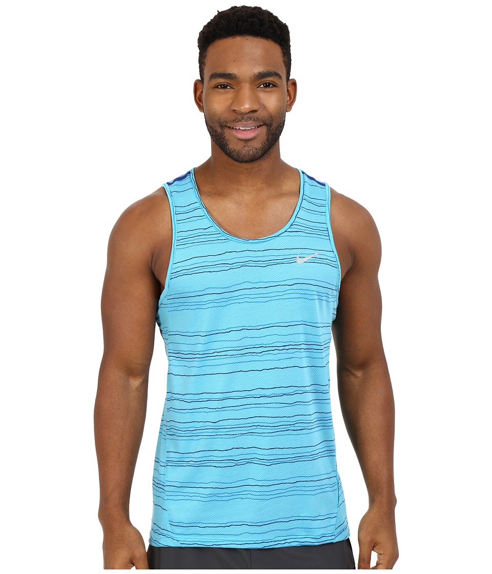 Nike - Dri-FIT Cool Tailwind Stripe Running Tank Top (Omega Blue/Reflective Silver) Men