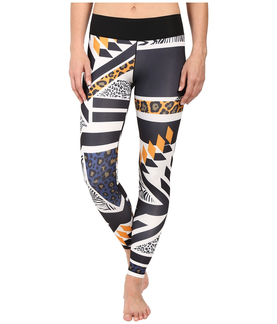 adidas - Workout Mid-Rise Long Tights - Around The World Prints (Black Print Africa) Women's Workout