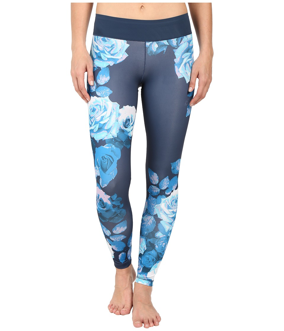 adidas - Workout Mid-Rise Long Tights - Around The World Prints (Mineral Blue Print Europe) Women's Workout