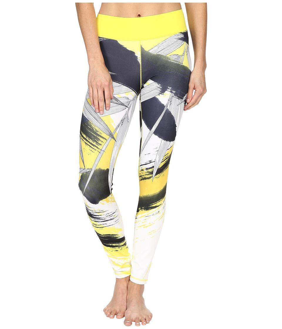 adidas - Workout Mid-Rise Long Tights - Around The World Prints (Shock Yellow Print Asia) Women's Workout